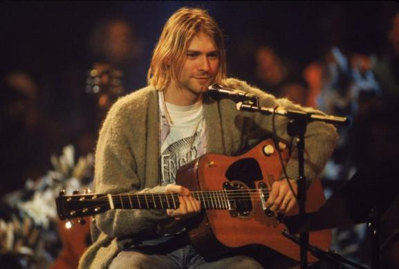 Kurt Cobain at the Nirvana Unplugged concert - one of the most defining performances of the 90s