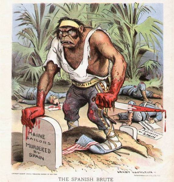 Political cartoon used to demonize the Spanish in 1898. Not unlike how the media demonizes other races and nationalities today.